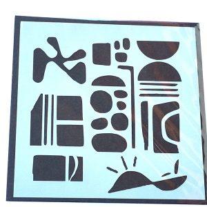 Stencil Abstracto Piedras